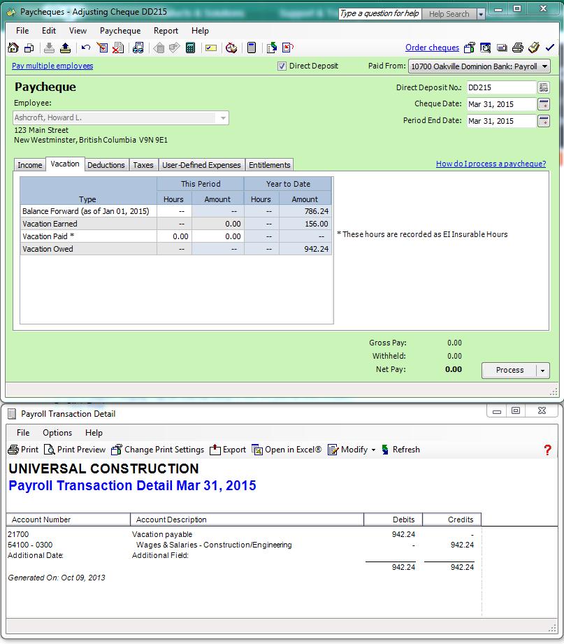 Vacation Owed YTD Amount Incorrect - Sage 50 CA Payroll ...