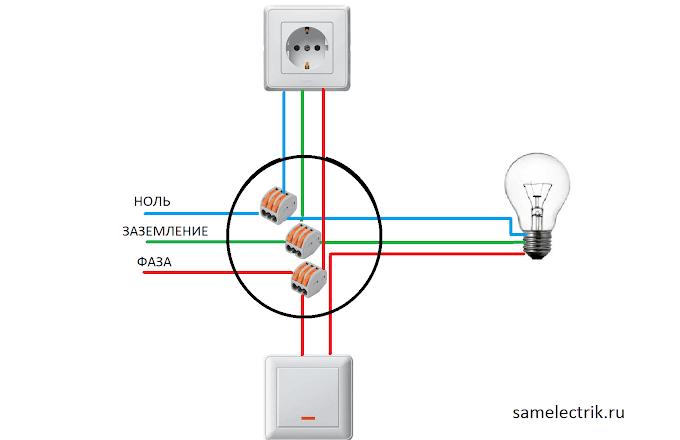 Схема подключения розетка — выключатель — лампочка