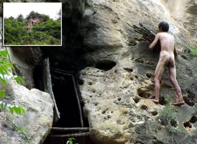 Feng Mingshan, 54, enlarged the cave in China's Shaanxi Province with a hammer and has even fashioned a front door and hung curtains.