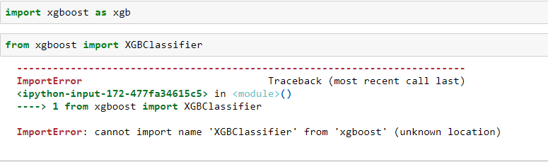 ImportError: cannot import name 'XGBClassifier' from 'xgboost