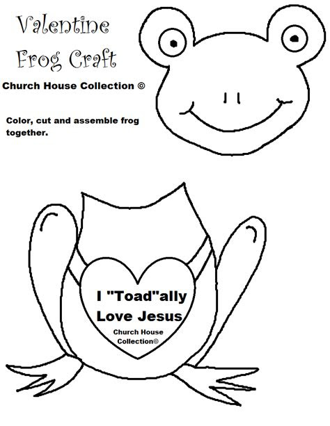 """I """"Toad""""ally Love Jesus- Frog Valentine Heart Craft Cutout"""