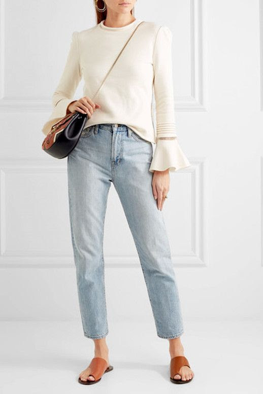 Le Fashion Blog Must Have See By Chloe Fluted Cuff Lace Insert Cream Sweater Via Net A Porter