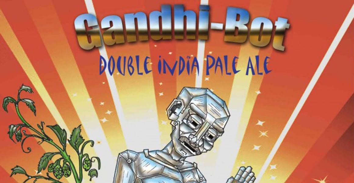 Image: New England Brewing Gandhi-Bot beer label