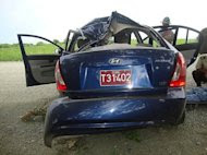 The crashed car of Cuban dissident Oswaldo Paya is pictured in this image from the Interior Ministry released by Cuban TV. Paya's widow has rejected a government report that blamed the car crash that killed her husband on the driver, saying she had been denied access to information. (AFP Photo/Ministerio Interior)