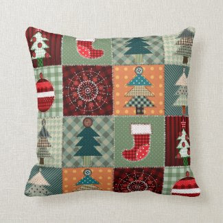 Old Fashioned Country Christmas Patchwork Pillow