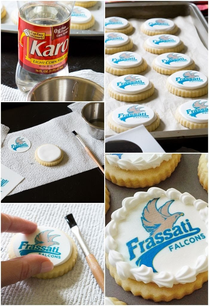 How to use corn syrup to apply printed frosting sheets to cookies...