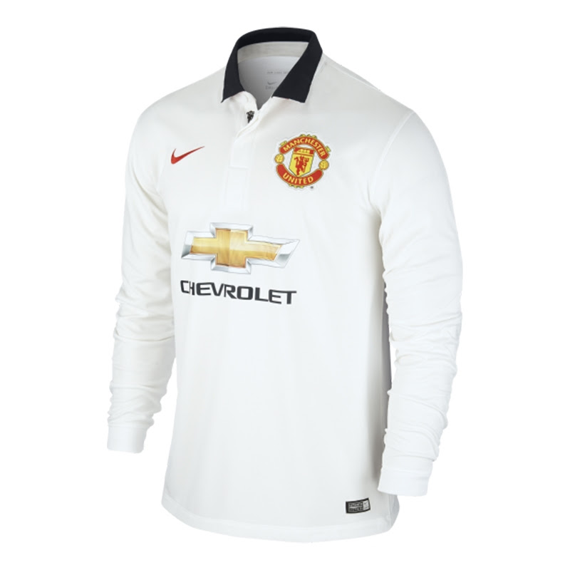 Nike Manchester United Away '14-'15 Long Sleeve Soccer Jersey (White/Black/Red)
