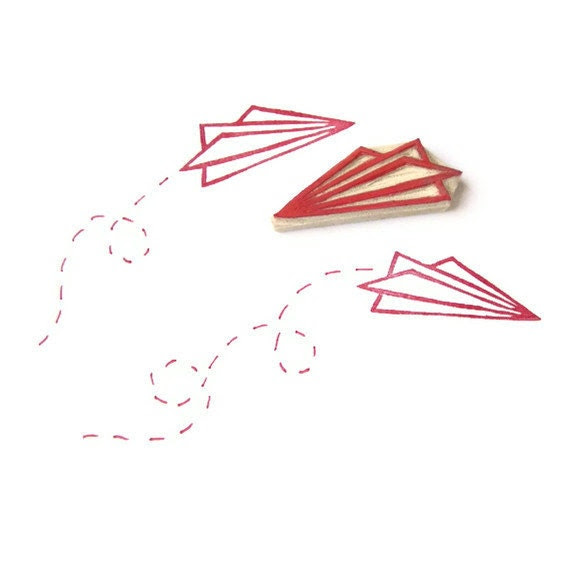 FLY Paper Airplane Stamp - Hand Carved Rubber Stamp
