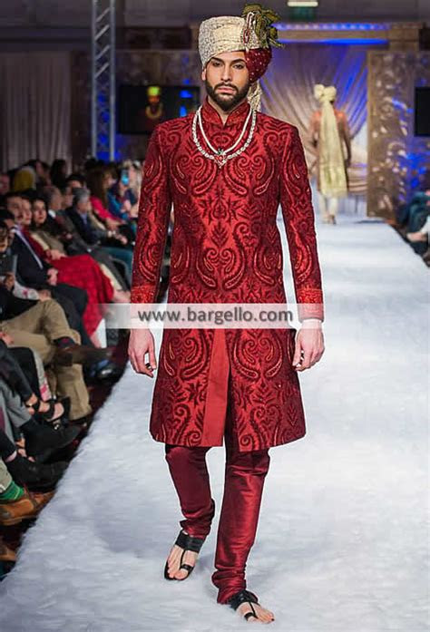 groom sherwani  cornell red color maryland baltimore md ahsan sherwani cermony collection