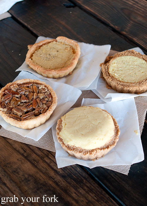pecan pie lemon chess pie key lime pie banana bourbon pie dessert at franklin barbecue austin texas