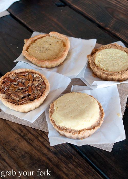 pecan pie lemon chess pie key lime pie banana bourbon pie dessert at franklin barbecue austin texas