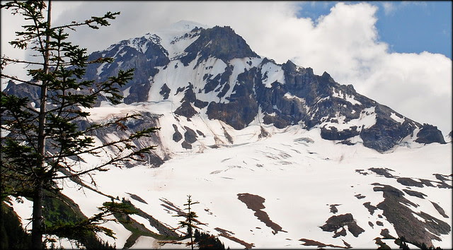 Mt. Hood viewed from the McNeil Point trail (zoomed in)