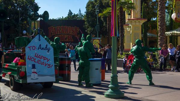 Disneyland Resort, Disney California Adventure, Green, Army, Christmas