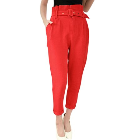 Women's High Waist Hook Eye Closed Cropped Pants w Belt Red (Size S \/ 4)