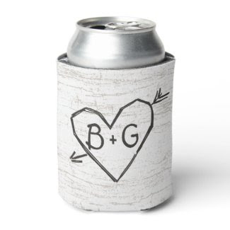 Carved Heart Birch Can Cooler