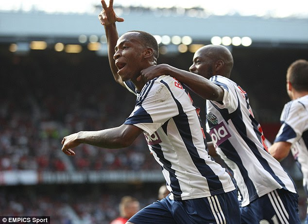 Wonderkid: Saido Berahino celebrates scoring West Brom's second goal against Manchester United