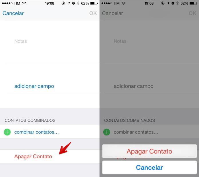 Deletando um contato da agenda do iOS (Foto: Reprodução/Helito Bijora)