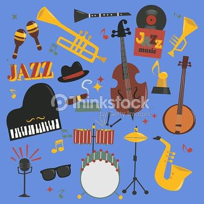 ジャズ音楽楽器ツール ピアノとサクソフォン音楽音のベクトル イラスト