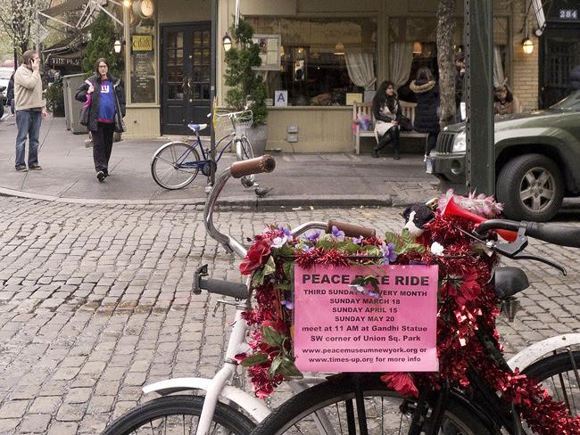 Peace Bike Ride sign, west village