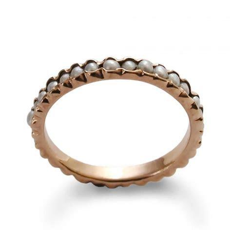 Pearl Infinity Ring, Gemstones Gold Wedding Band