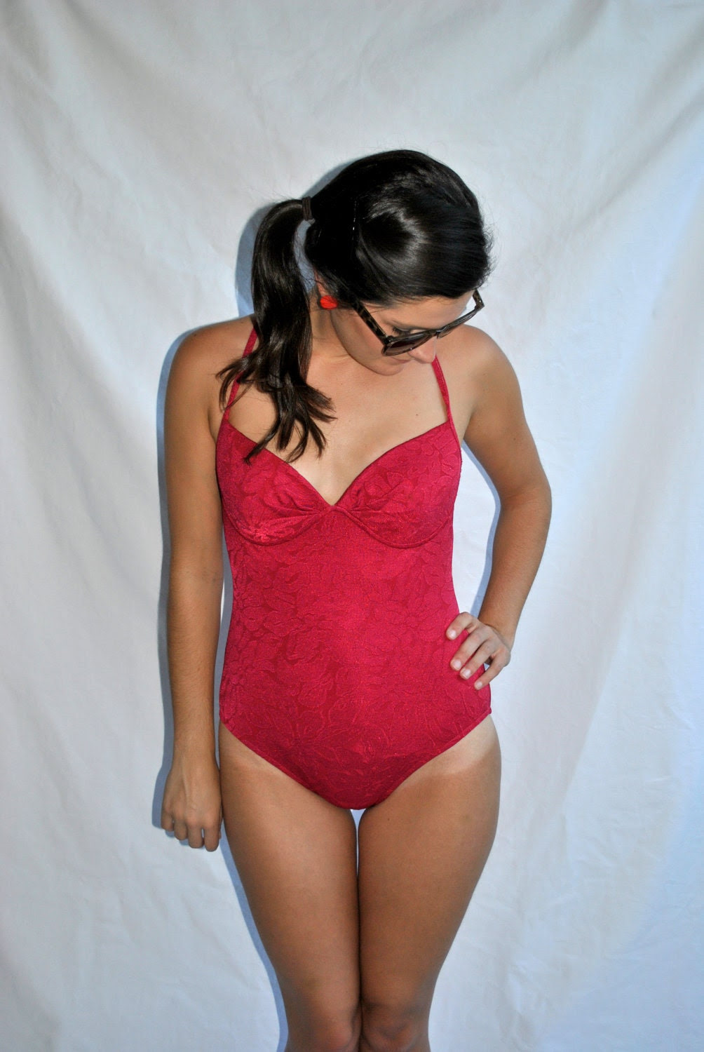 Vintage 1970s Red Swimsuit -- Vintage Swimsuit -- Vintage Bathing Suit -- Gifts for Her