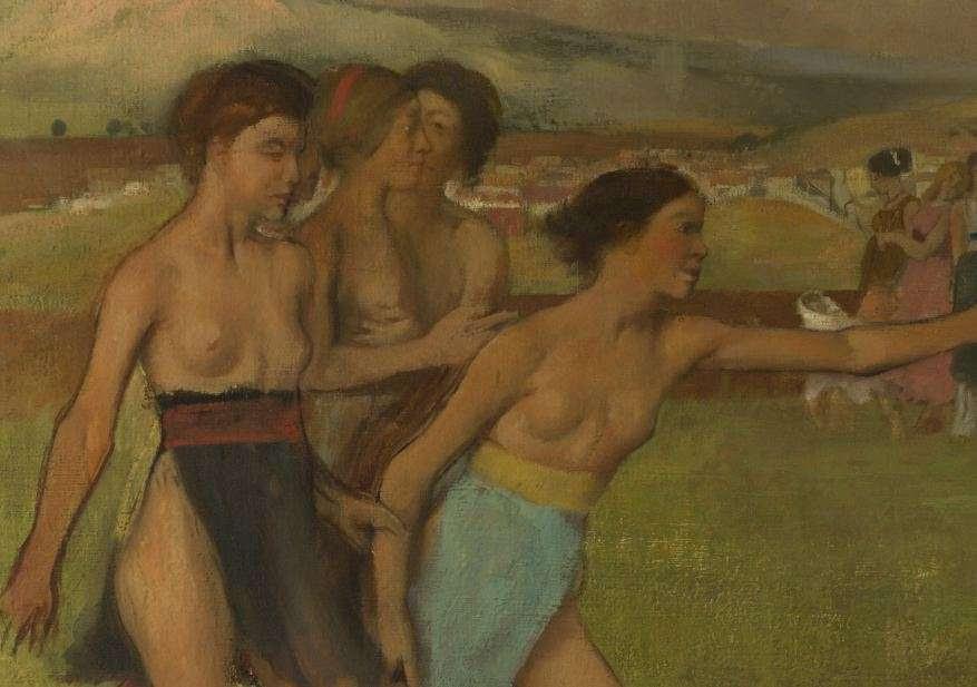 Εντγκάρ Ντεγκά (Edgar Germain Hilaire Degas, 1834-1917). Νεαροί άνδρες και γυναίκες στην αρχαία Σπάρτη. After Plutarch, who tells about the ancient Spartan legislator Lycurgus. Lycurgus urged the Spartan girls to engage in wrestling. Here they urge the boys to fight.