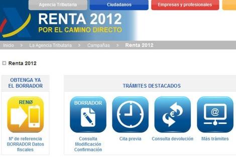 Portal de la Agencia Tributaria donde se puede solicitar el borrador de la Declaración de la Renta.