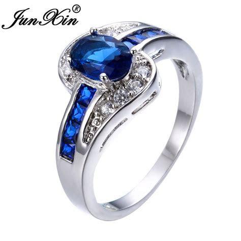JUNXIN Unique Jewelry Blue Oval Zircon Stone Ring White