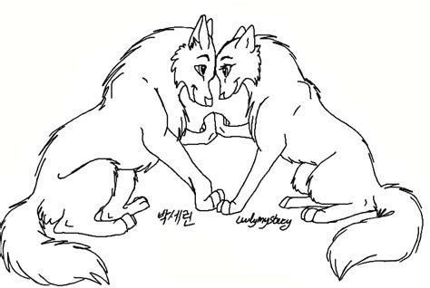 wolf couple drawing