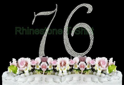 NEW Large Rhinestone NUMBER (76) Cake Topper 76th Birthday