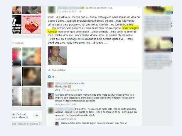 Mulher 'entregou' nome do detento em post na rede social (Foto: Reprodução/Facebook)