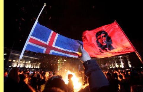 Manifestação na Islândia contra os banksters.