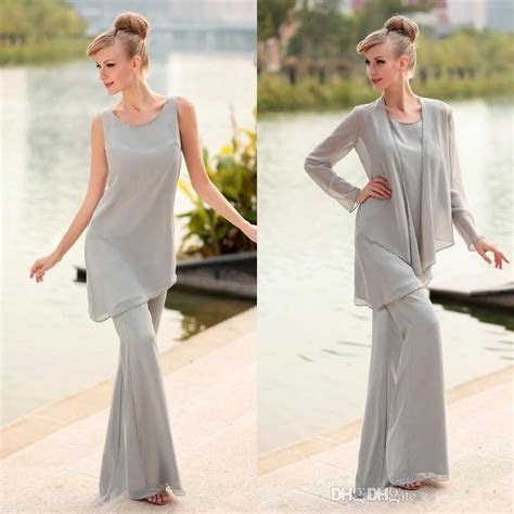 2017 Mother Of The Bride 3 Piece Pant Suit Chiffon Beach
