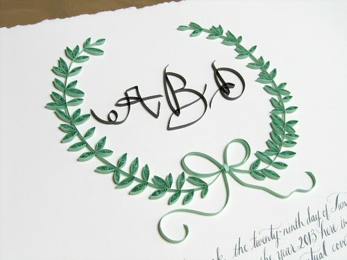 Quilled monogram ketubah by Ann Martin