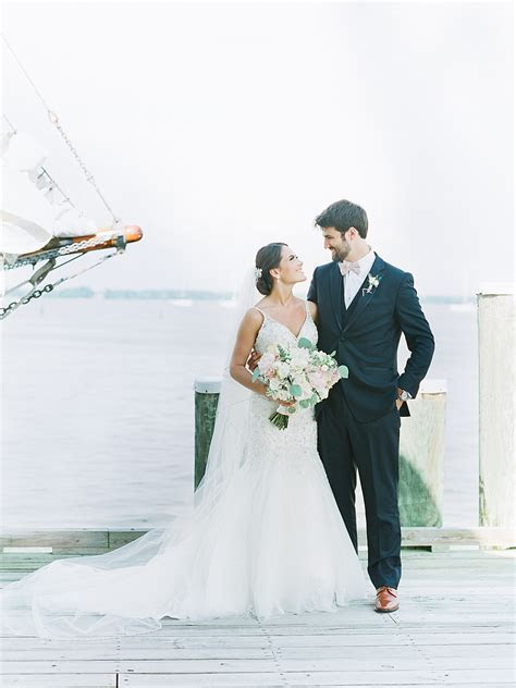 Chesapeake Bay Maritime Museum Wedding   Bride and Groom