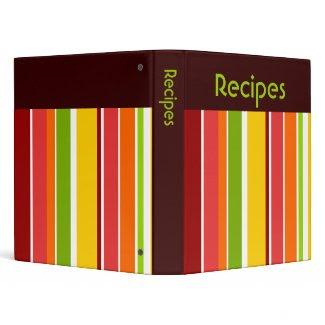 Retro Stripes Recipe Binder binder