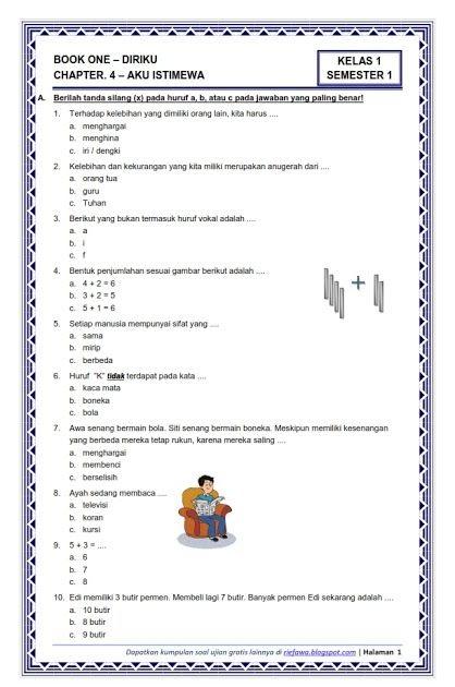 Soal Tematik Kelas 1 Semester 1 Dan Kunci Jawaban