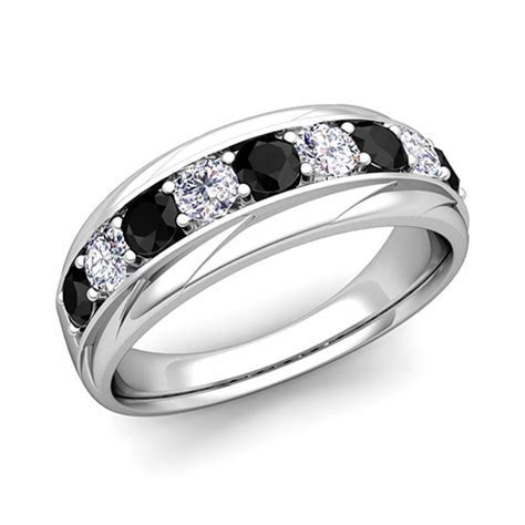 His and Hers Wedding Band Platinum Black Diamond Wedding Rings