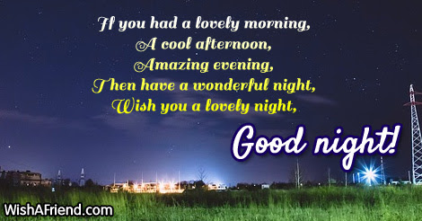 If You Had A Lovely Morning Sweet Good Night Message