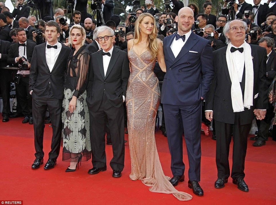 All-star lineup: Blake arrived with Cafe Society's director Woody Allen, 80, and the rest of his cast for his 49th movie, including Jesse Eisenberg, a glam Kristen Stewart and Corey Stoll