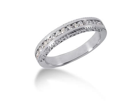 Engraved Diamond Channel Set Wedding Ring Band in 14k
