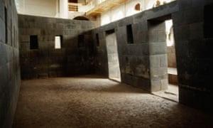 Original Inca masonry inside Coricancha.