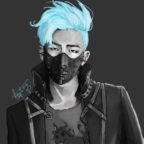 bts rap monster namjoon cyberpunk fanart   bts
