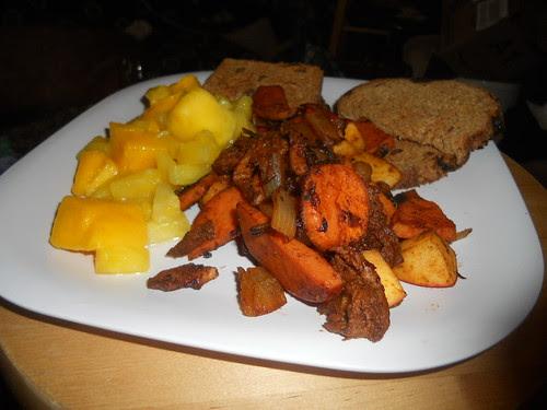 Mock pork, apples, and sweet potatoes