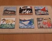 Set  of  6 illustrated  coasters