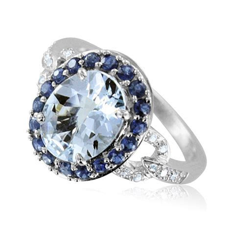 Diamond Blue Sapphire and Oval Aquamarine Ring in 14k