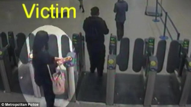 Followed: Naomi Oni, 21, circled, using her oyster card at Stratford station before she was attacked