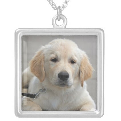 Golden Reriever puppy dog cute beautiful photo Pendant