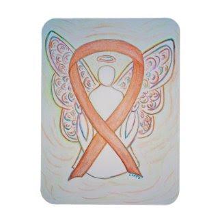 Gold Awareness Ribbon Angel Art Magnet