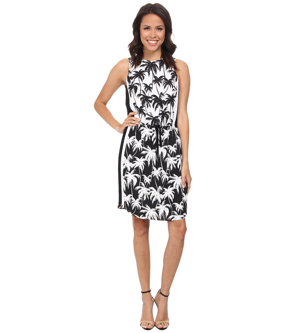 Vince Camuto - Sleeveless Palm Harmony Tie Waist Dress (Rich Black) Women's Dress